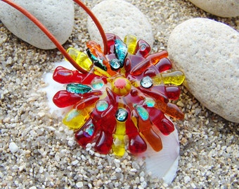 Red - Orange - Yellow pendant Sun, jewelery fused glass, art glass