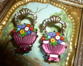 Art Deco Style GWS Metal And Glass Flower Basket Earrings