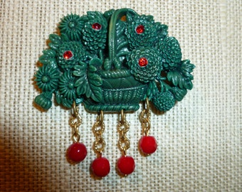 Vintage Celluloid / Hard Plastic Forest Green Brooch With Red Glass Beads