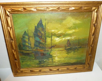 Vintage Oil Painting Of Asian San Pans / Sailboats