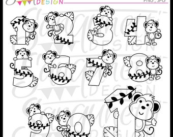 Numbers Lineart, Numbers Digital Stamps, Numbers Clipart,Monkey Lineart, Monkey Digital Stamps, Monkey Clip Art, Monkey Clipart