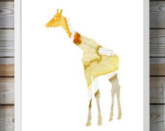 Giraffe Watercolor illustration - Fine Art Print Home decoration - Animal Painting - Giraffe Painting Wall decor Wall Art