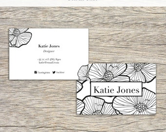 100x Printed Business Cards, Black and White Design