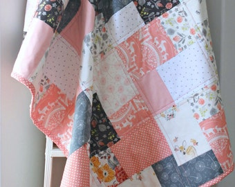 Modern Baby Quilt~ Baby Quilts Handmade~Pink & Grey Nursery~ Baby Girl Quilt~ Coral Nursery~ Woodland Nursery Bedding~ Baby Quilts For Sale