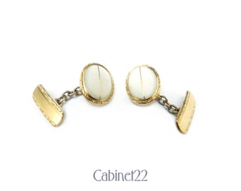 Vintage cufflinks, mother of pearl gold toned links ~ Cabinet22