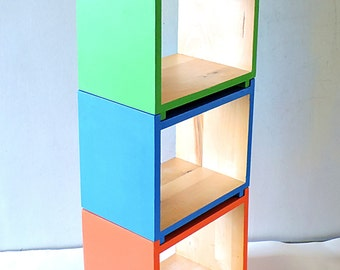 Standing or hanging small wooden shelf, module wooden shelf, colourful shelf, module box, wall shelf,modern bookcase, module cubic display