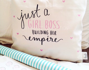 "THE ORIGINAL Just a Girl Boss  Building Her Empire - (available with hearts or no hearts) 18"" handwritten velveteen quote pillow cover"