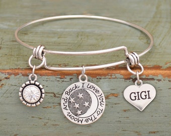 Love You To The Moon Gigi Memory Wire Bracelet