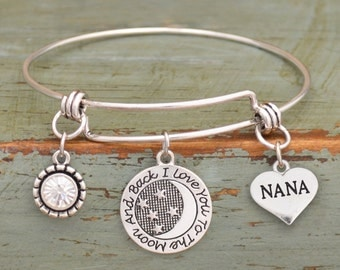 Love You To The Moon Nana Memory Wire Bracelet