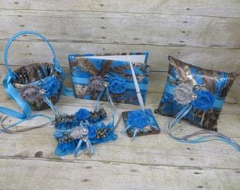 Blue Camo Wedding Set, Blue Camouflage Wedding Set, True Timber Mc2 Blue Camo, Blue Camo Wedding Accessories, Customize, Camo Wedding