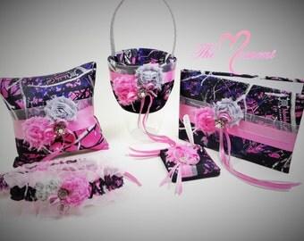 Muddy Girl Camo Wedding Set, Wedding Flower Girl Basket, Wedding Pillow, Guest Book, Pen and Garter Set, Muddy Girl Set with Pink Ribbon