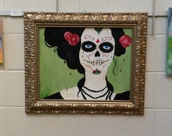 Framed original Painting - Day of the Dead - Sugar Skull