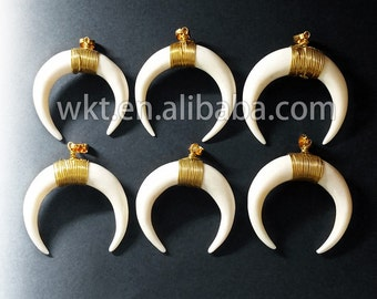 WT-P517 Fashion natural ox bone horn pendants handmake wire wrapped white bone horn pendant