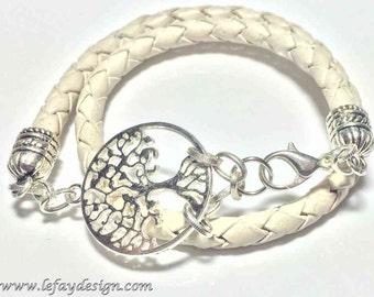 Leather wrap bracelet,Tree of Life, Braided Leather,leather bracelet,spiritual jewelry,wrap bracelet,leather jewelry,yoga bracelet,energized
