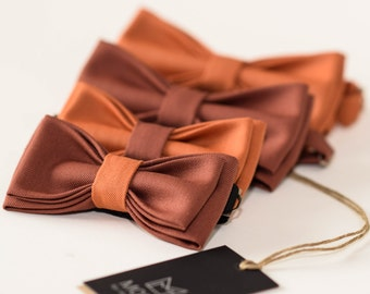 Father Son Bow Tie Set, Orange Bow Ties, Brown Bowties, Limited Edition Bowtie, Dad Gifts, Fathers day, Custom bowtie