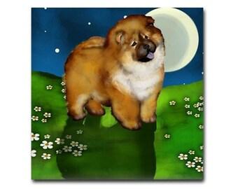 CHOW CHOW DOG Full Moon Art Ceramic Tile Coaster optional frame