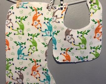 Monkey Baby Gift Set Bib, Burp Cloth