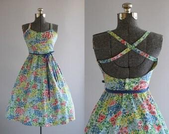 Vintage 1970s Dress / 70s Cotton Dress / LANZ ORIGINALS Floral Sun Dress w/ Open Back and Waist Tie S