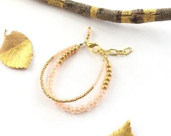 Baby Stacking Bracelet - Gold Baby Bracelet - Gold Bracelet - Gold Stacking Baby Bracelet - Peach Baby Bracelet - Double Strand Bracelet