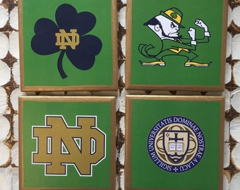 COASTERS!!! Notre Dame Coasters! Go Fighting Irish set of 4 ceramic coasters with gold trim