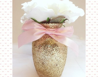 Gold & Pink Vases, Pink and Gold First Birthday, Pink and Gold Baby Shower, bridal shower, gold and pink decor, wedding decor, centerpieces