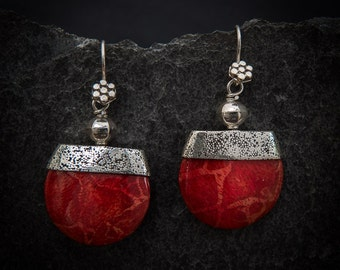 Red Bamboo Coral and Sterling Silver Geometric Drop Earrings