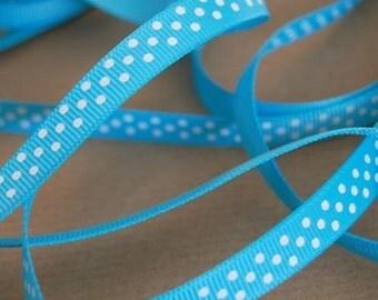 5 Metre 10mm Turquoise Satin Polka Dot Ribbon  - *FREE UK SHIPPING*