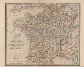 France Vintage Map Wyld 1863 Original SKU:1860wyldlm-005