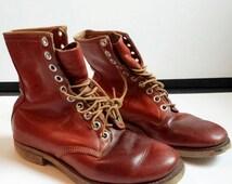 Men's Vintage Leather Work Boots Bearfoot Roper Boots Size 9_1960s Vintage