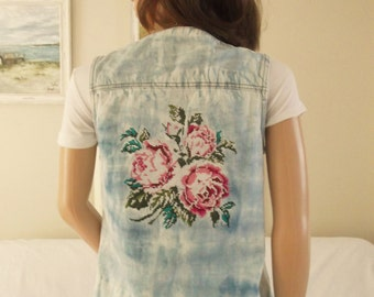 Bleached tie dye denim waistcoat Embroidered roses denim waistcoat Bleached denim vest Embroidered roses boho denim vest Tie dye denim vest