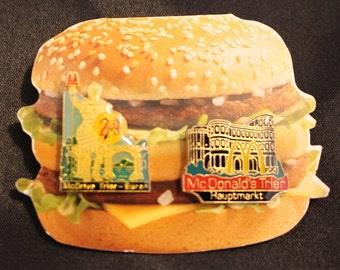 Vintage Promotional McDonalds Pins on a Big Mac Card McDonalds Trier Hauptmarkt Euren