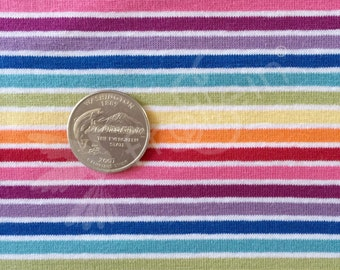 Jersey Fabric, Cotton Jersey, Rainbow stripes, Oeko-Tex, rainbow fabric, cotton knit, Euro knit, yarn dyed stripes, fabric by the half yard