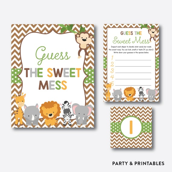 Instant Download Safari Guess The Sweet Mess Game Diaper Candy Bar