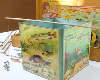 Childs Game of Magnetic Fish / Vintage German Parlor Game / Cardboard Graphics and fishing poles with Magnets / Rare Game
