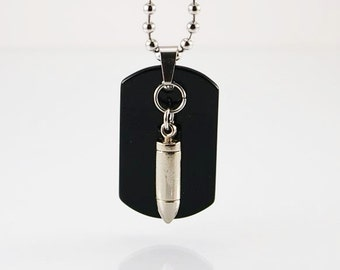 Bullet pendant on chain, mens necklace, mens pendant, men necklace pendant, men necklace chain, men chain, mens gift