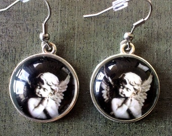 Angel earrings, Cherub earrings, Guardian angel earrings, Glass cabochon earrings, Dangle earrings