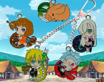 Seven Deadly Sins build your own double key chain/keyring five characters to choose from!