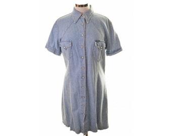 Rifle Womens Denim Shirt Dress Size 18 XL Blue Cotton