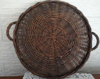 Vintage basket wicker basket Willow basket plate basket-round basket-round basket-vintage basket-agriturismo-country house.