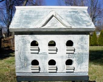 Large Birdhouse/Rustic Birdhouse/ White