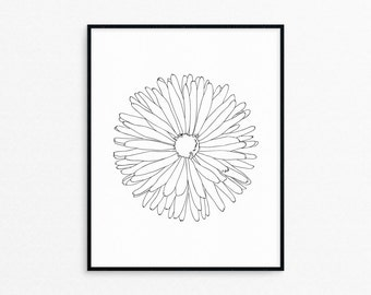 Dandelion Line Art Print/Printable/Wall Decor/Black and White/Floral/Wall Art/Drawing/Botanical/AP41