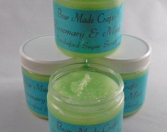 Rosemary & Mint Sugar Scrub, Emulsified Sugar Scrub, Exfoliating Scrub, Body Scrub