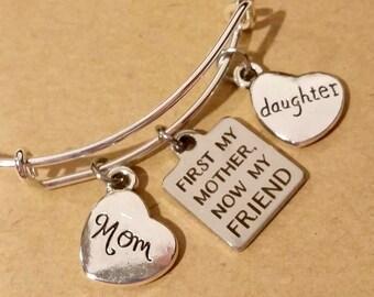 Bangle bracelet - charm bracelet - gift for mother - gift for daughter - mother - daughter - friend - mother and friend