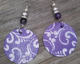 Paisley Prince Earrings, Paisley, Purple, Prince
