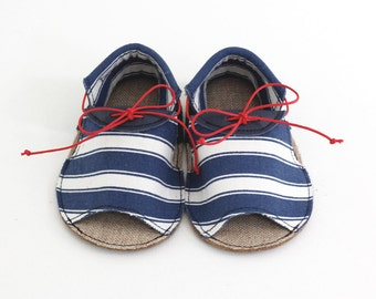Baby sandals, leather in color navy and printed cotton fabric with stripes