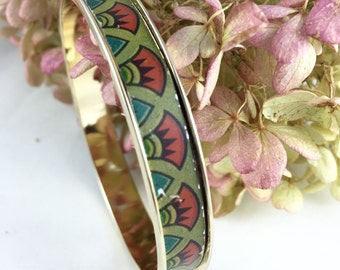 Tin jewelry bangle - 24 kt gold - recycled vintage tin can bracelet - upcycled repurposed gift
