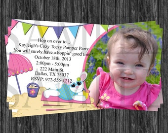 Bunny and Beach Birthday Party Invitation girl Pink, blue, Purple and Green