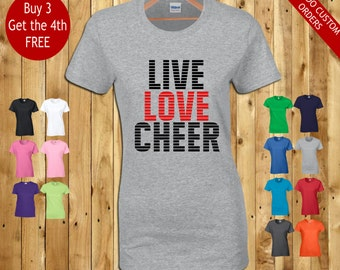 live love cheer fashionable casual cheerleader fan t shirt ladies girls fitted summer tops