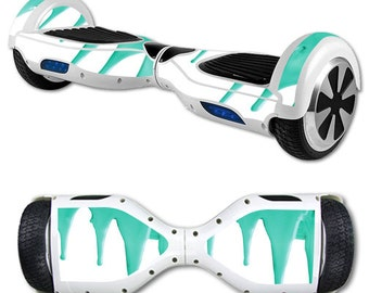 Skin Decal Wrap for Self Balancing Scooter Hoverboard unicycle Teal Drips