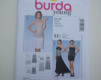 Evening dress/spaghetti strap/ tight /short/sexy dress 2013 sewing pattern, Bust 32 34 36 38 40 42, Size 10 12 14 16 18 20, Burda Young 7055